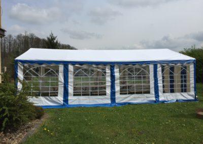 Namiot 5x8 biało niebieski ścianka bok