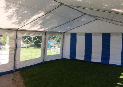 Namiot 5x8 biało niebieski - środek