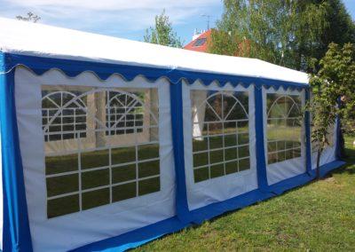 Namiot 5x8 biało niebieski bok