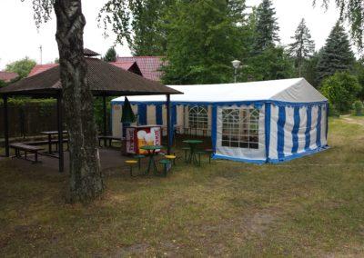 Namiot 5x8 biało niebieski